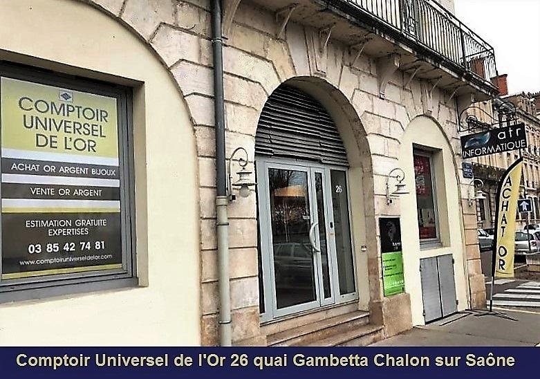 Pour venir au comptoir d'achat or et argent 26 quai gambetta Chalon sur Saône, suivez le guide du département 71