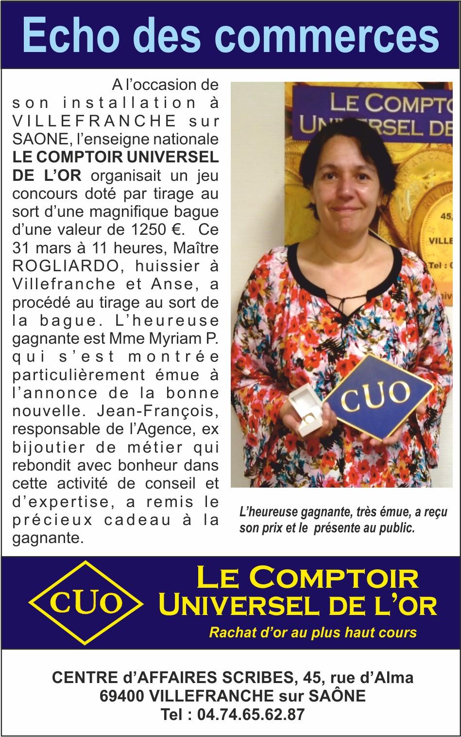 JEU-CONCOURS «  OUVERTURE du COMPTOIR UNIVERSEL DE L'OR à VILLEFRANCHE sur SAONE  »