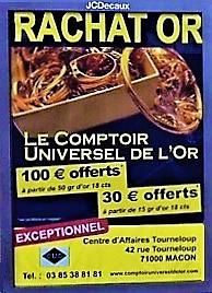 100€ OFFERTS POUR UN ACHAT D'OR DE 50 GR D OR 18 CARATS ? C'est aux comptoirs d'achat d'or Chalon Villefranche et Mâcon!