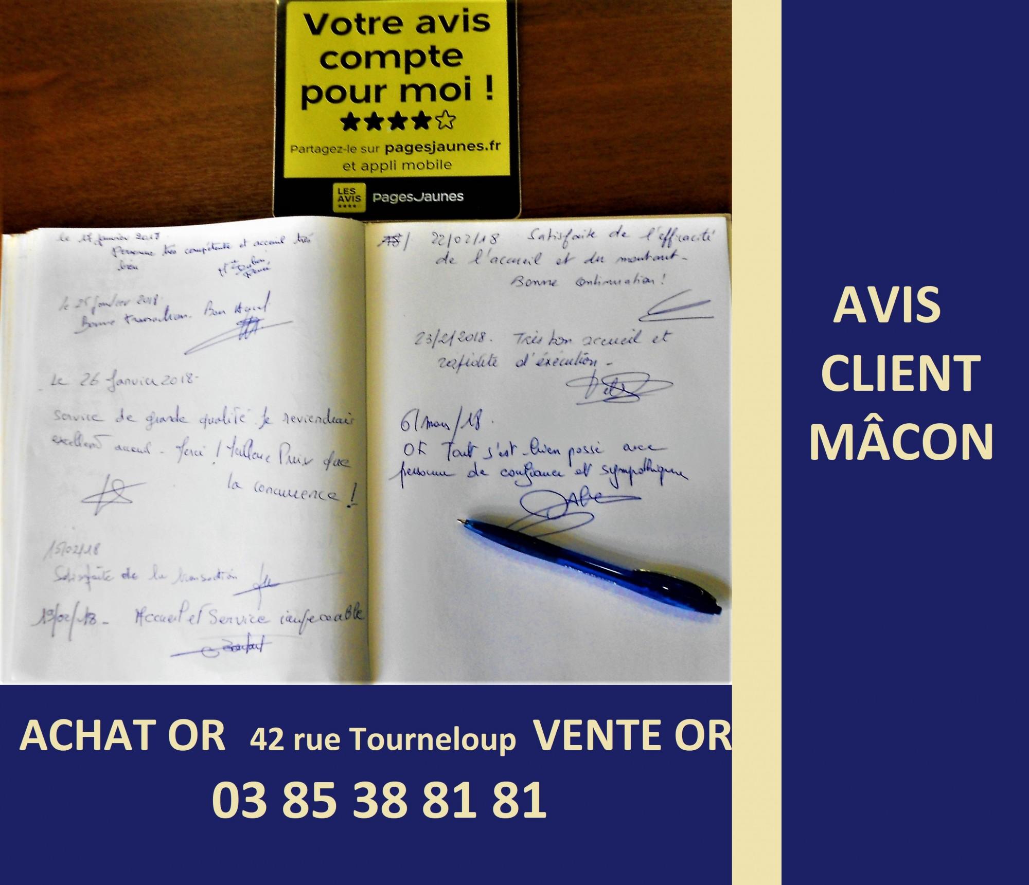 donnez votre avis sur le rachat d'or Mâcon et sur pages jaunes!