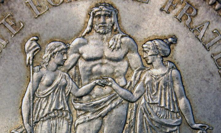 Pièce 50 F Hercule , la belle pièce en argent de la république par le comptoir d'achat argent Chalon